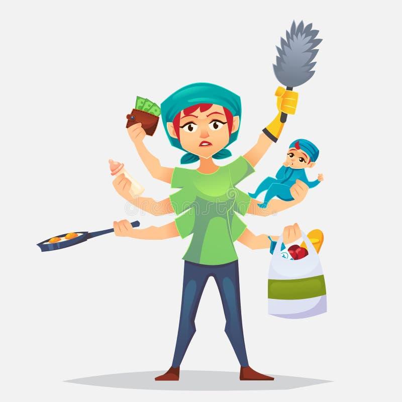 有要做多任务母亲的全部差事的典型的妇女 现代妇女-有婴孩的,工作,烹调和做一shopp 库存例证