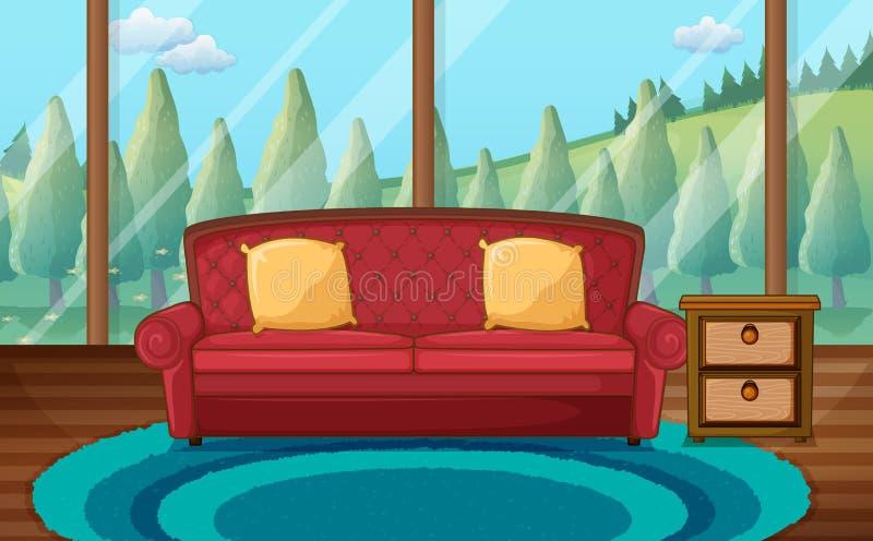 有角正餐内部客厅沙发无盖货车 皇族释放例证