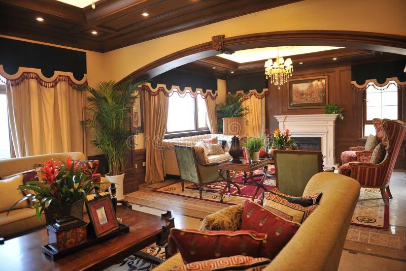 有角正餐内部客厅沙发无盖货车 免版税库存照片
