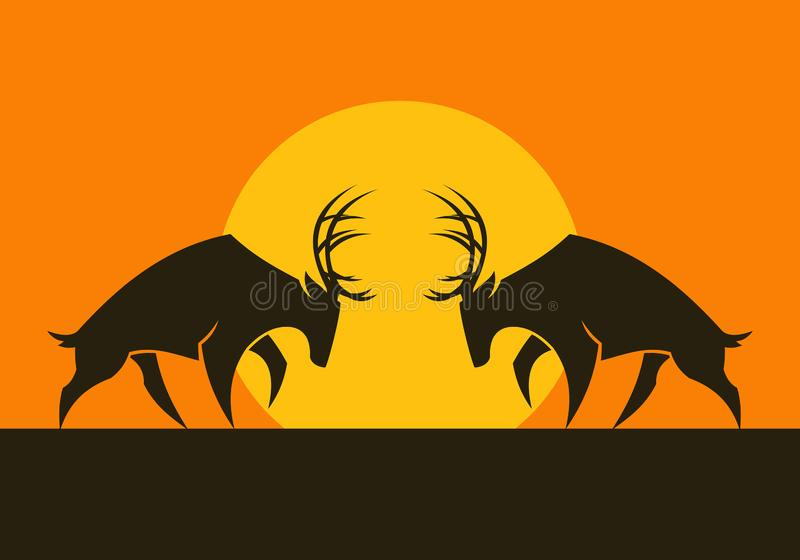 有角的鹿导航剪影反对太阳 向量例证