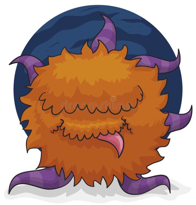有触手的滑稽的红发妖怪准备好淘气,传染媒介例证 皇族释放例证