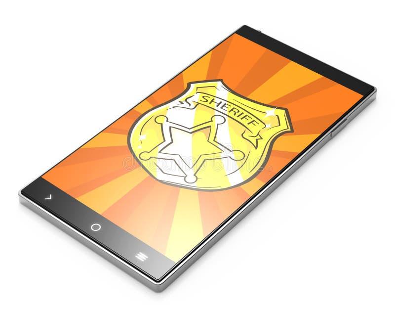 有警长徽章的黑3D智能手机在白色背景 向量例证