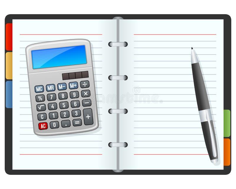有计算器和笔的空白的组织者 库存例证