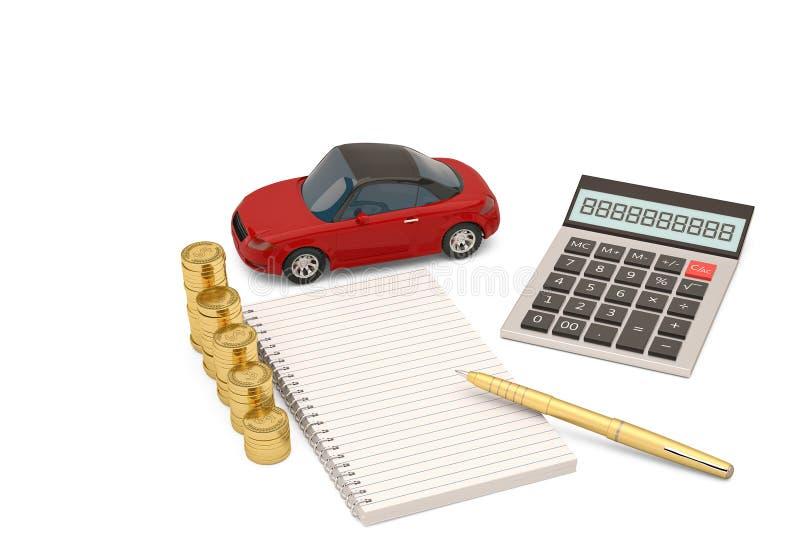 有计算器和笔记本和金币的红色汽车 3d illustrat 库存例证