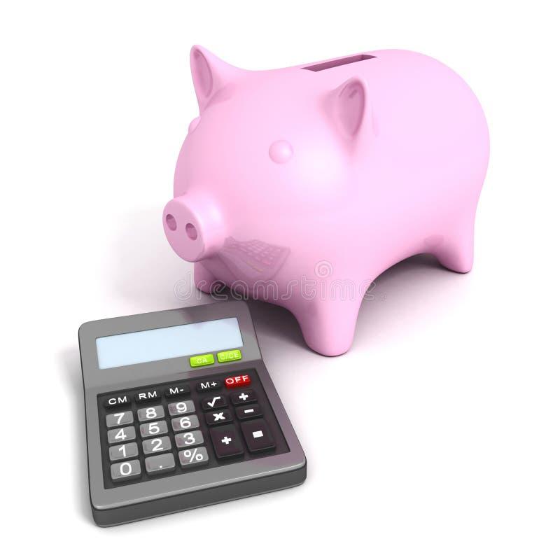 有计算器的桃红色存钱罐。企业概念 皇族释放例证