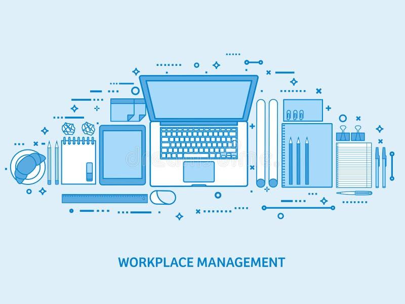 有计算机、膝上型计算机、文件、纸、笔记薄和铅笔的工作场所 事务,工作区管理 平的蓝色 库存例证