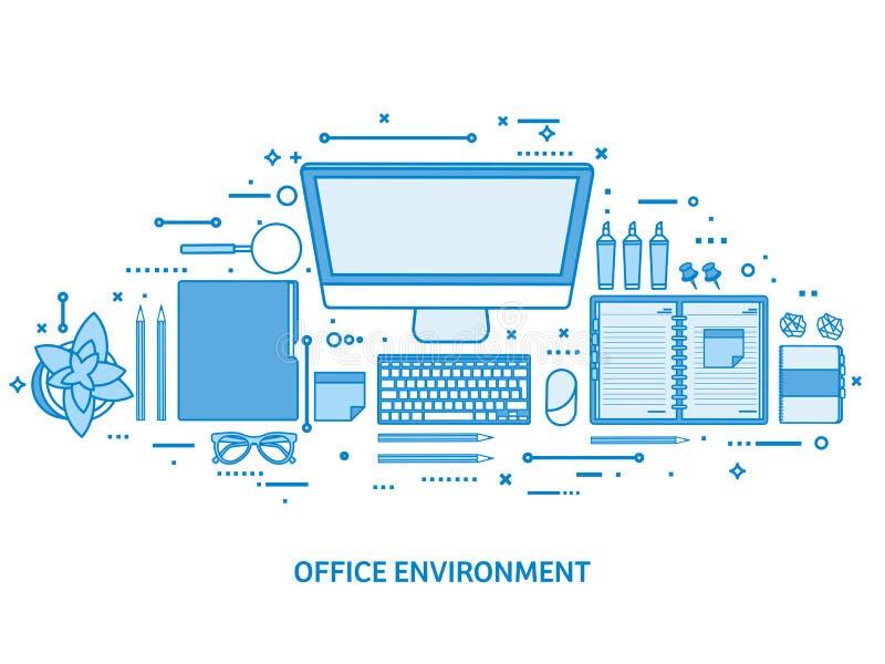 有计算机、膝上型计算机、文件、纸、笔记薄和铅笔的工作场所 事务,工作区管理 平的蓝色 皇族释放例证