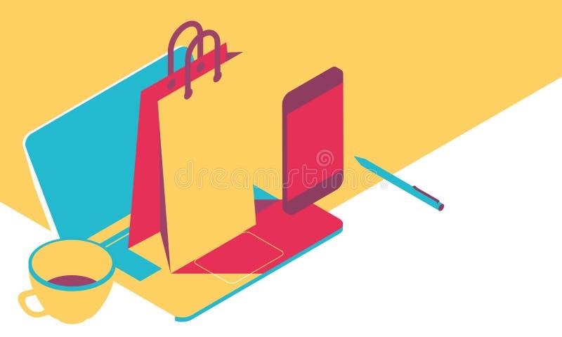 有计算机和纸袋的,等量例证,流行艺术样式网上购物概念桌面 库存例证