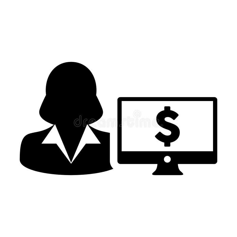 有计算机显示器和美元的符号货币金钱标志的现金象传染媒介女性用户人外形具体化银行业务的 库存例证