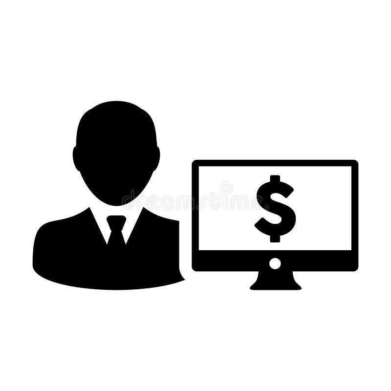 有计算机显示器和美元的符号货币金钱标志的股票市场象传染媒介男性用户人外形具体化银行业务的 向量例证