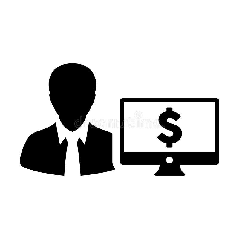 有计算机显示器和美元的符号货币金钱标志的贷款象传染媒介男性用户人外形具体化银行业务的 向量例证