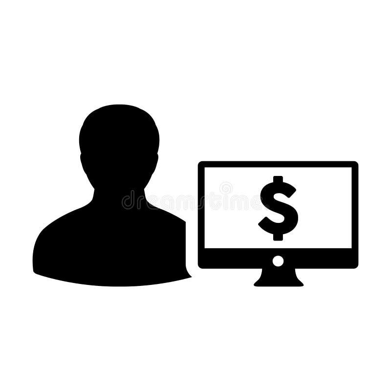 有计算机显示器和美元的符号货币金钱标志的赢利象传染媒介男性用户人外形具体化银行业务的 皇族释放例证