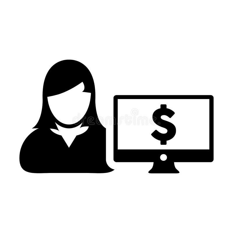 有计算机显示器和美元的符号货币金钱标志的银行业务象传染媒介女性用户人外形具体化银行的 库存例证