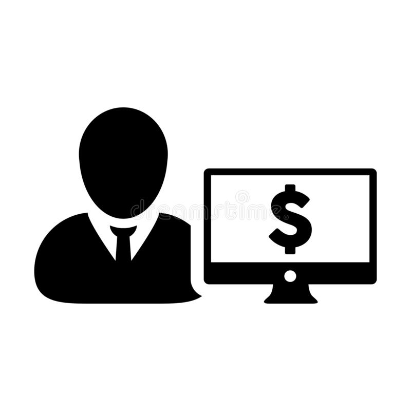 有计算机显示器和美元的符号货币金钱标志的银行象传染媒介男性用户人外形具体化银行业务的 库存例证