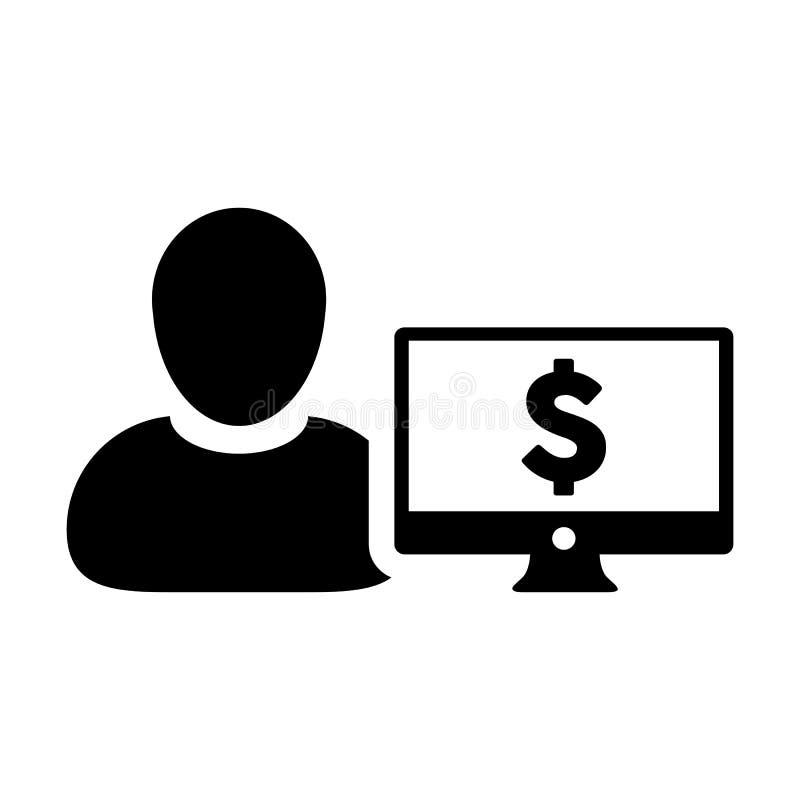 有计算机显示器和美元的符号货币金钱标志的销售象传染媒介男性用户人外形具体化银行业务的 库存例证