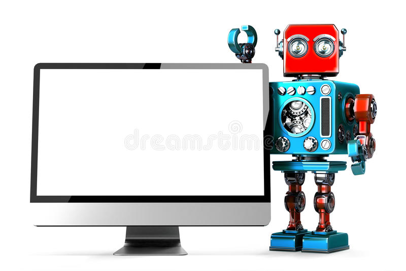 有计算机显示器的减速火箭的机器人 查出 3d例证 Co 向量例证
