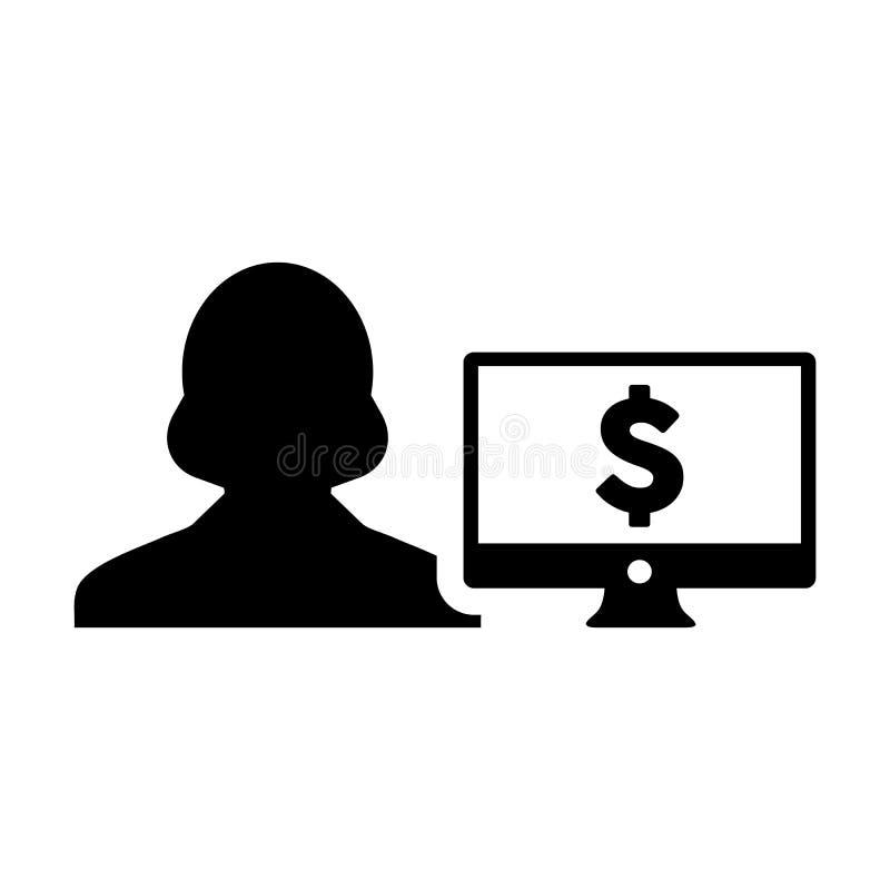 有计算机显示器的金钱象传染媒介女性用户人外形具体化和美元的符号银行业务和财务的货币符号 向量例证