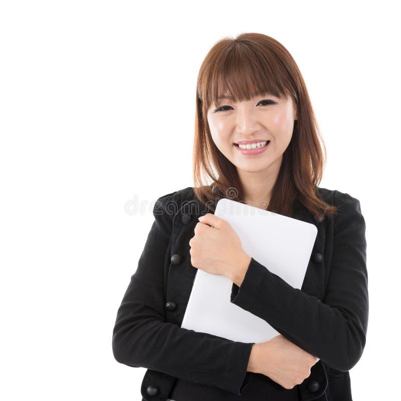 有计算机片剂的妇女 免版税库存照片
