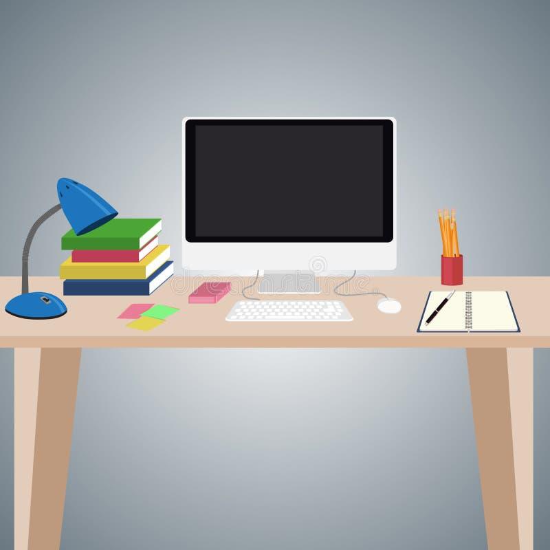 有计算机的书桌和对此的其他项目 库存例证