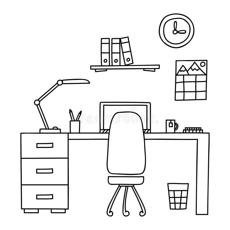 有计算机的书桌或工作场所在用手被画的办公室乱画样式 也corel凹道例证向量 皇族释放例证