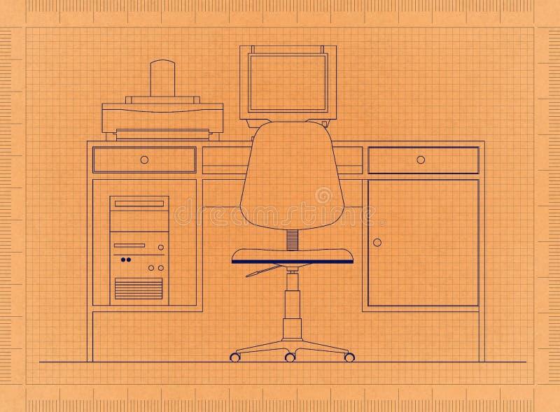 有计算机的减速火箭的图纸的办公桌 库存例证