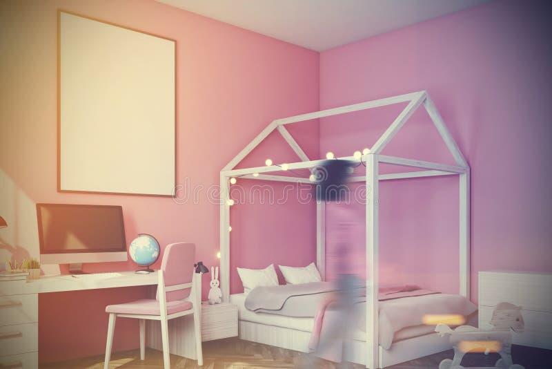 有计算机的婴孩s室,侧视图,变粉红色定调子 皇族释放例证