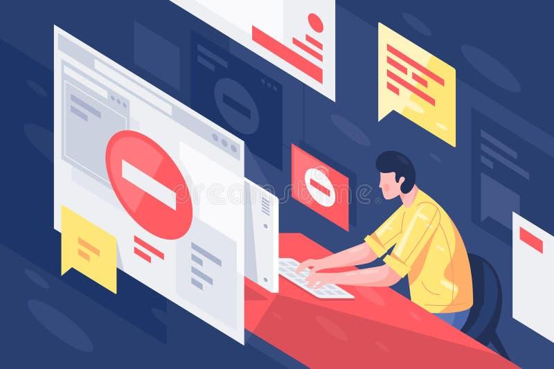有计算机的平的年轻人在有超文字标记语言页的工作场所与错误服务 库存例证