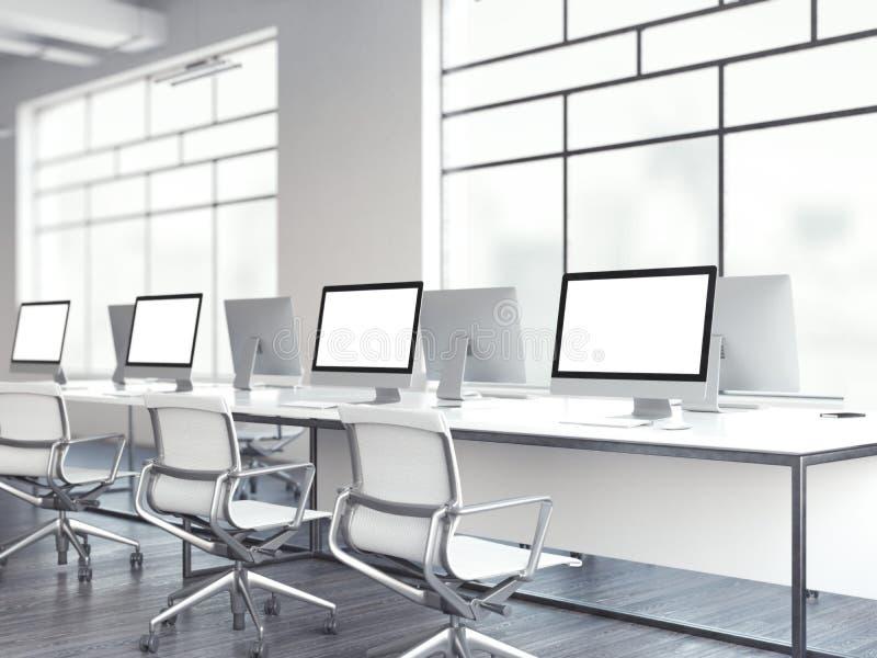 有计算机的明亮的办公室 3d翻译 库存例证