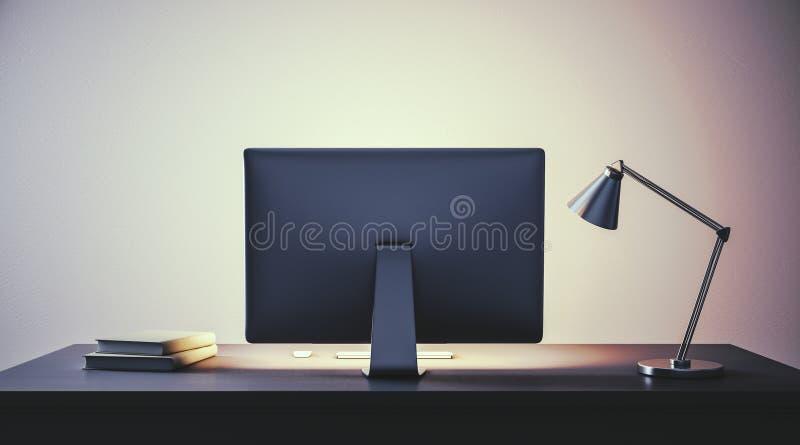 有计算机的现代工作场所 库存例证