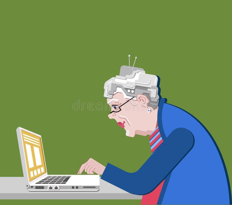 有计算机的祖母坐 在一个平的样式的传染媒介例证 老进步妇女用途现代技术 皇族释放例证