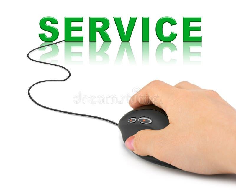 有计算机老鼠和词服务的手 免版税库存图片