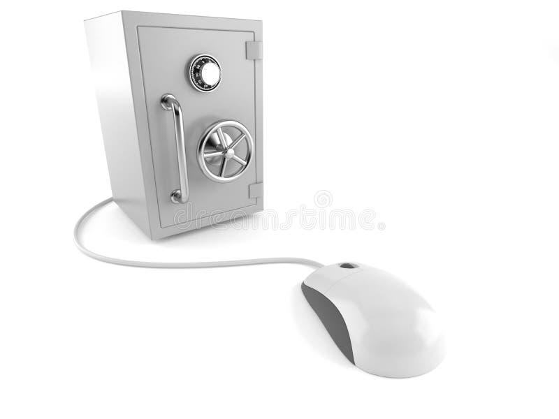 有计算机老鼠的保险柜 向量例证