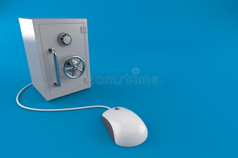 有计算机老鼠的保险柜 库存例证