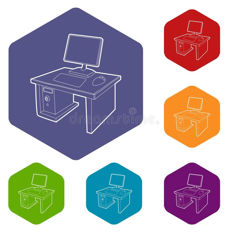有计算机象的桌面导航hexahedron 向量例证