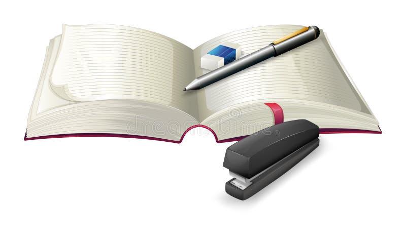 有订书机、笔和橡皮擦的一个开放笔记本 皇族释放例证