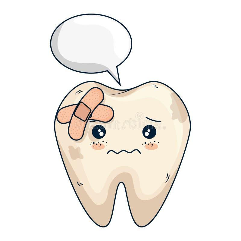 有讲话泡影和绷带的可笑的牙 向量例证