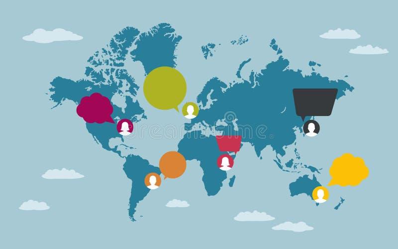 有讲话泡影的人们在世界地图 免版税库存图片