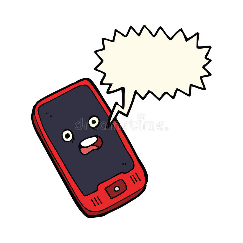 有讲话泡影的动画片手机 皇族释放例证