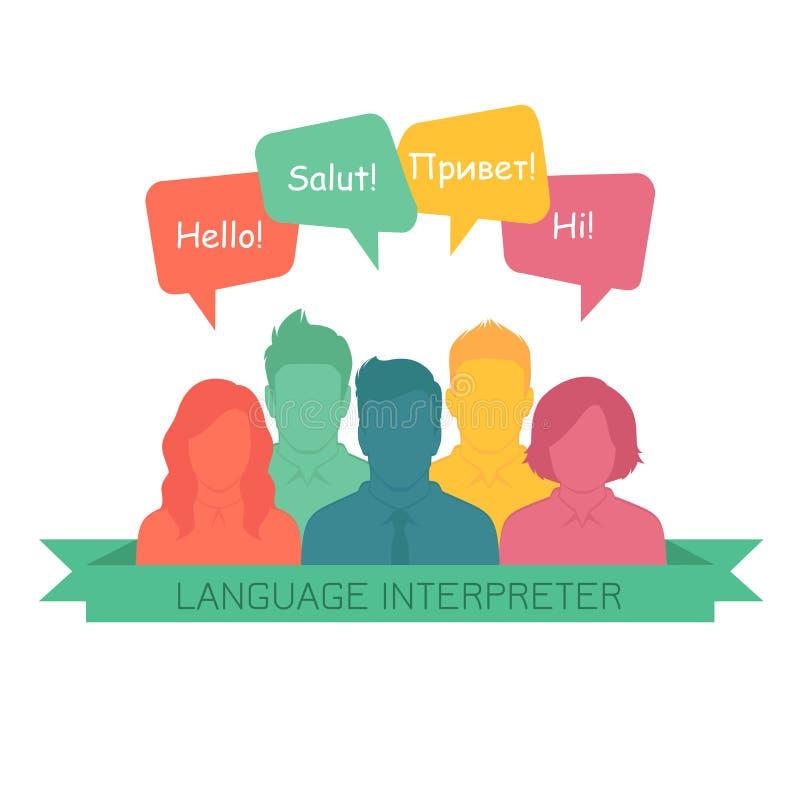 有讲话泡影的口译员用不同的语言 皇族释放例证