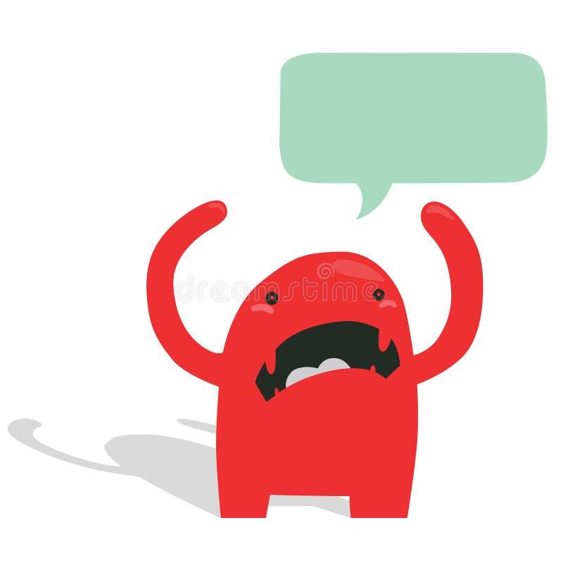 有讲话泡影的恼怒的红色妖怪 图库摄影