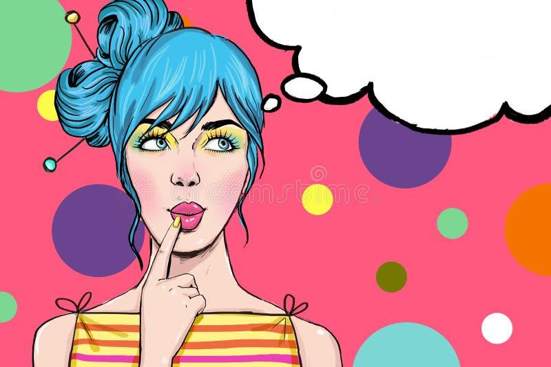 有讲话泡影的流行艺术女孩 性感迪斯科的女孩 向量例证
