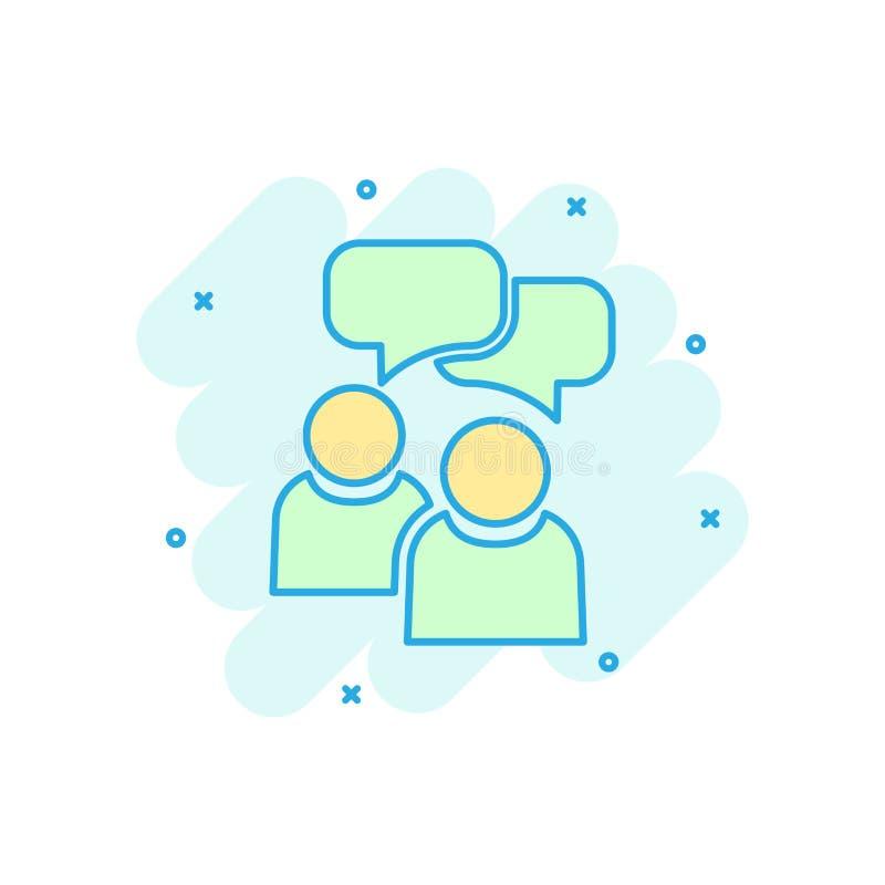 有讲话泡影象的人们在可笑的样式 企业协议传染媒介动画片例证图表 合作谈话事务 向量例证