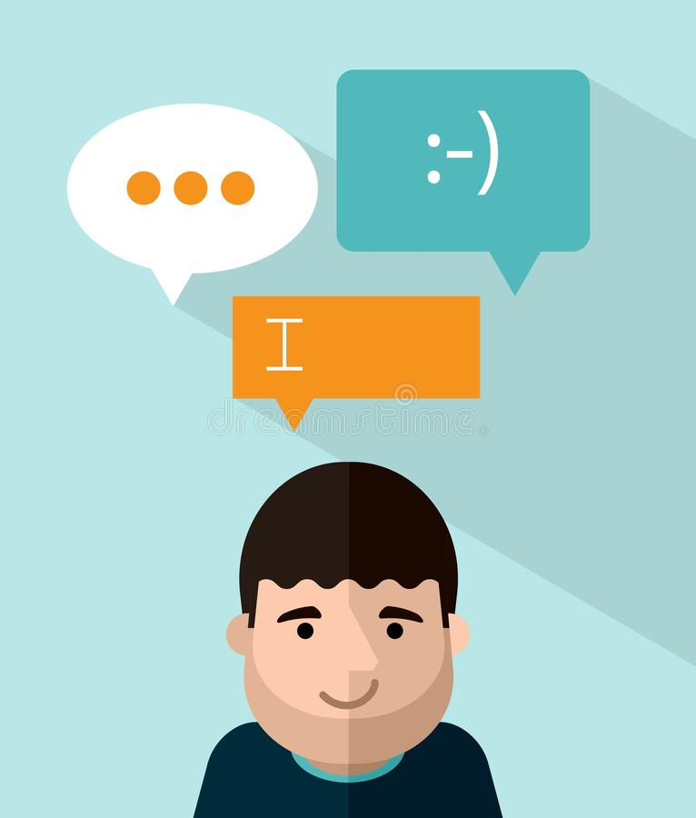 有讲话的微笑的人在他的头上起泡 向量例证