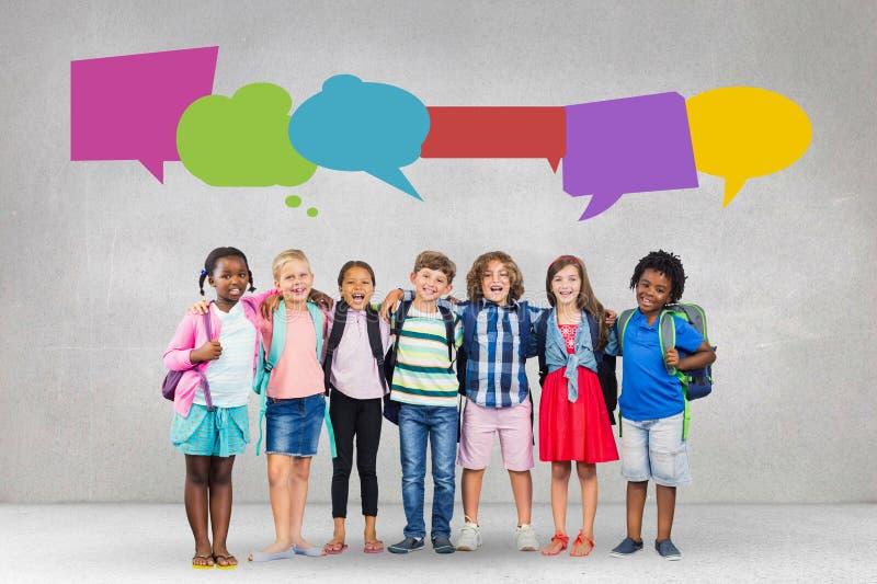 有讲话的愉快的学生起泡反对灰色背景 向量例证