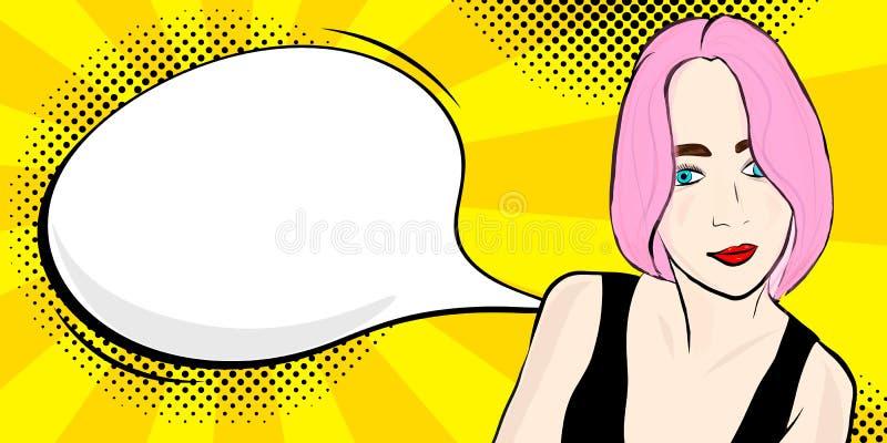 有讲话的流行艺术女孩 向量例证