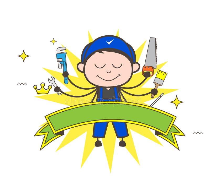 有许多工具传染媒介例证的动画片木匠 库存例证