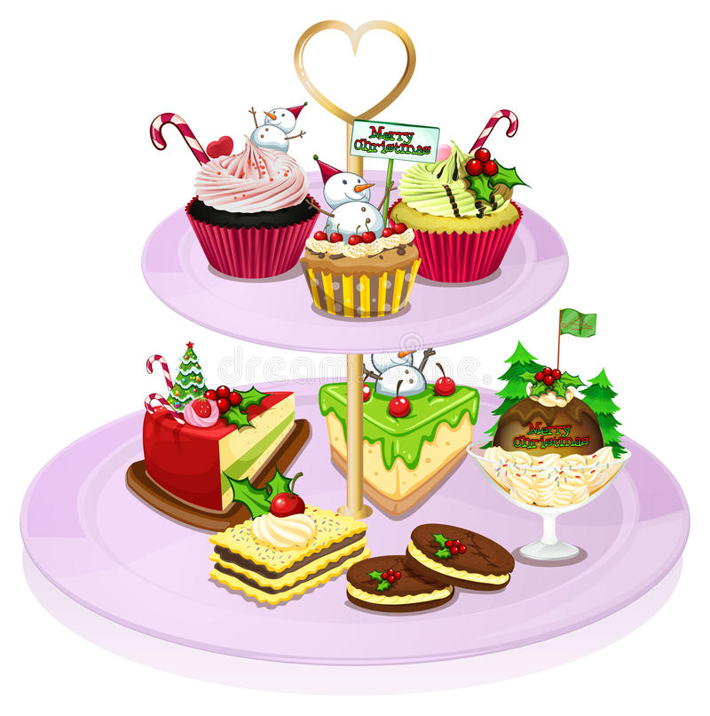 有许多的一个杯形蛋糕盘子被烘烤的物品 向量例证