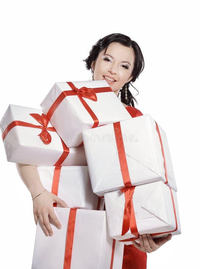 有许多的愉快的小姐礼物盒 库存照片