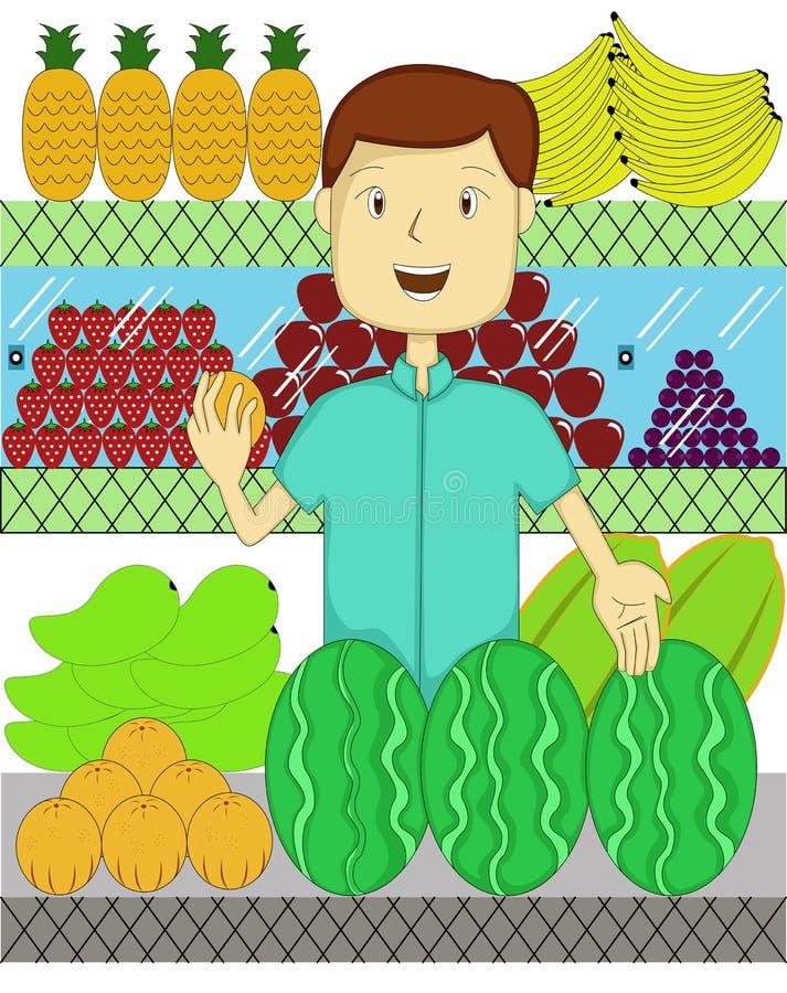有许多的果子卖主种类果子动画片 向量例证