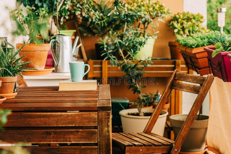 有许多盆的植物的舒适夏天阳台 库存照片